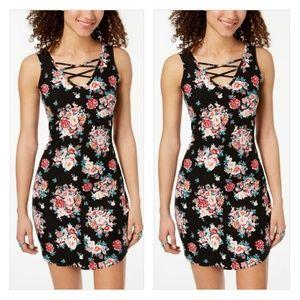 Ultra Flirt Juniors' Floral Lace-Up Bodycon Dress